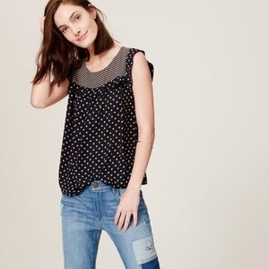 LOFT dotblock ruffle shell blouse